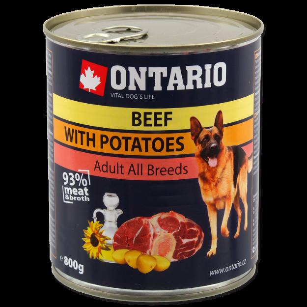 Konzerva ONTARIO Dog Beef, Potatos and Sunflower Oil 800g