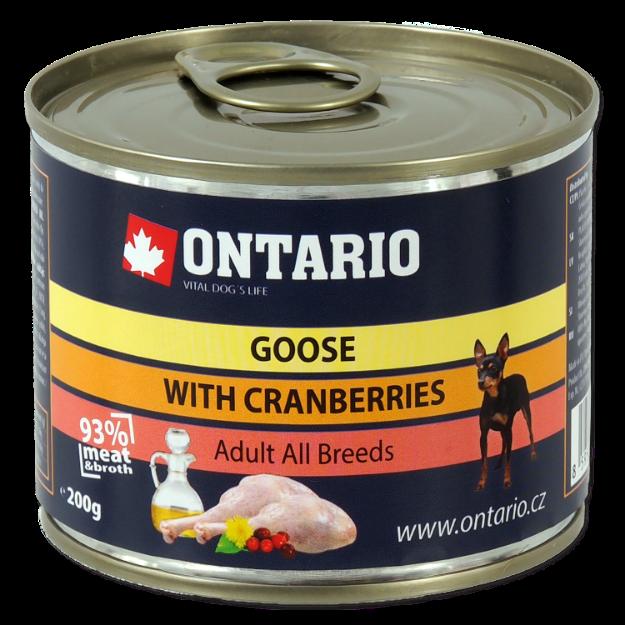 Konzerva ONTARIO Dog Mini Goose, Cranberries, Dandelion and Linseed Oil 200g