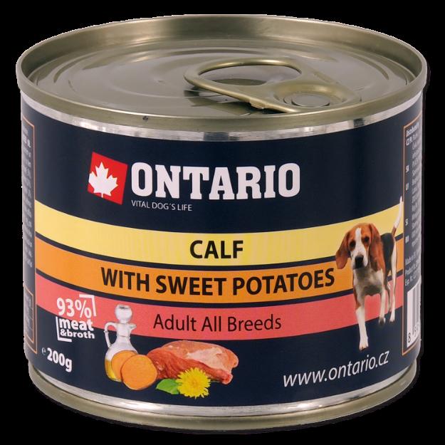 Konzerva ONTARIO Dog Mini Calf, Sweetpotato, Dandelion and Linseed oil 200g