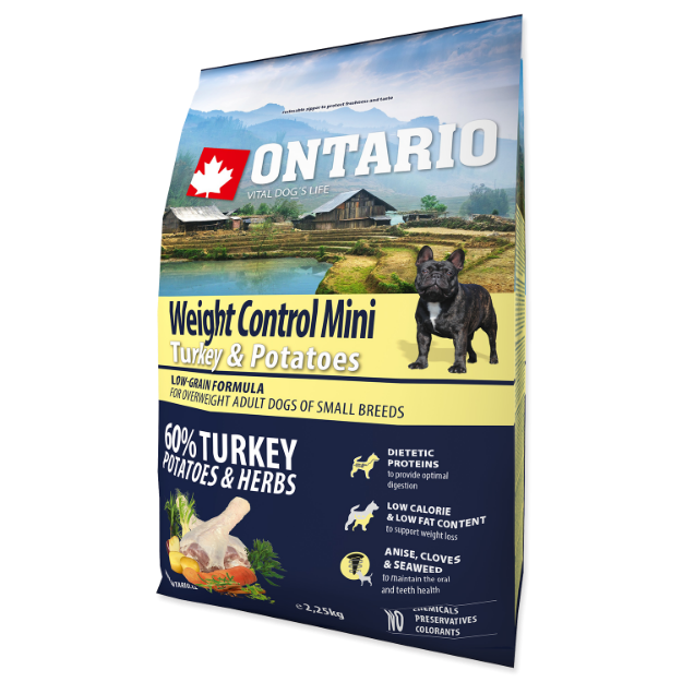 ONTARIO Dog Mini Weight Control Turkey & Potatoes 2,25kg