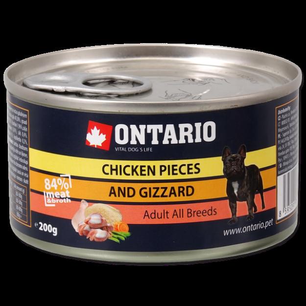 Konzerva ONTARIO Dog Chicken Pieces + Gizzard 200g