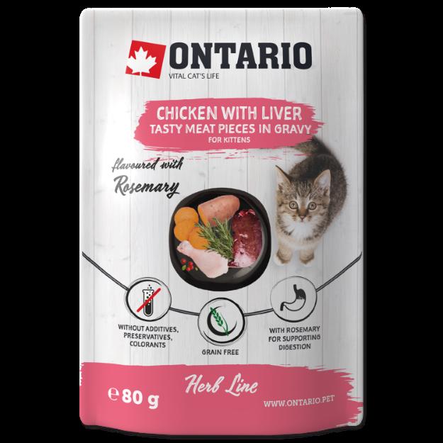 Obrázek Kapsička ONTARIO Cat Herb - Kitten Chicken with Liver, Sweet Potatoes, Rice and Rosemary 80g