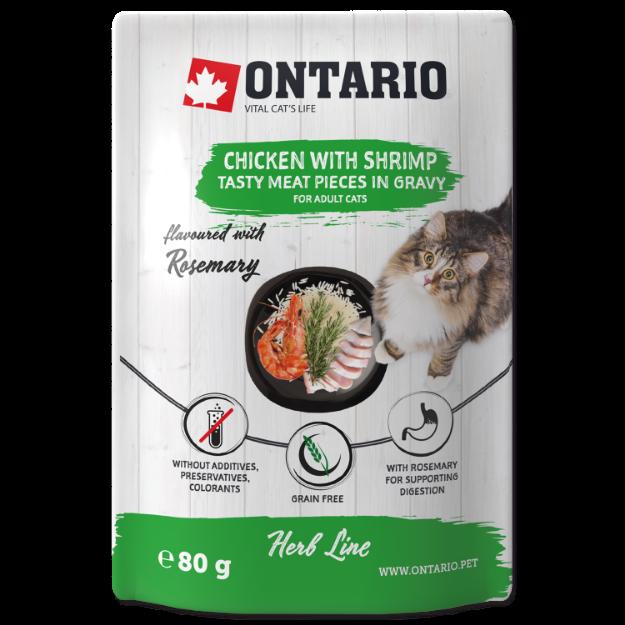 Obrázek Kapsička ONTARIO Cat Herb - Chicken with Shrimps, Rice and Rosemary 80g