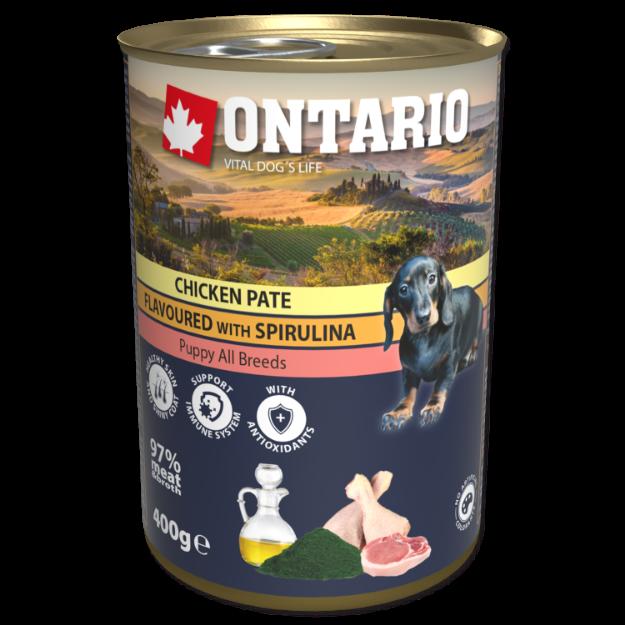 Obrázek Konzerva ONTARIO Puppy Chicken Pate Flavoured With Spirulina And Salmon Oil
