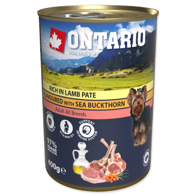 Obrázek Konzerva ONTARIO Dog Rich In Lamb Pate Flavoured with Sea Buckthorn